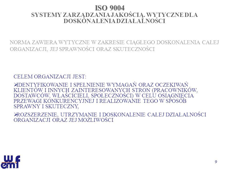 9 ISO 9004 SYSTEMY ZARZĄDZANIA JAKOŚCIĄ. WYTYCZNE DLA DOSKONALENIA DZIAŁALNOŚCI NORMA ZAWIERA WYTYCZNE W ZAKRESIE CIĄGŁEGO DOSKONALENIA CAŁEJ ORGANIZA