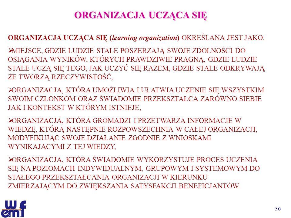 36 ORGANIZACJA UCZĄCA SIĘ ORGANIZACJA UCZĄCA SIĘ (learning organization) OKREŚLANA JEST JAKO: MIEJSCE, GDZIE LUDZIE STALE POSZERZAJĄ SWOJE ZDOLNOŚCI D