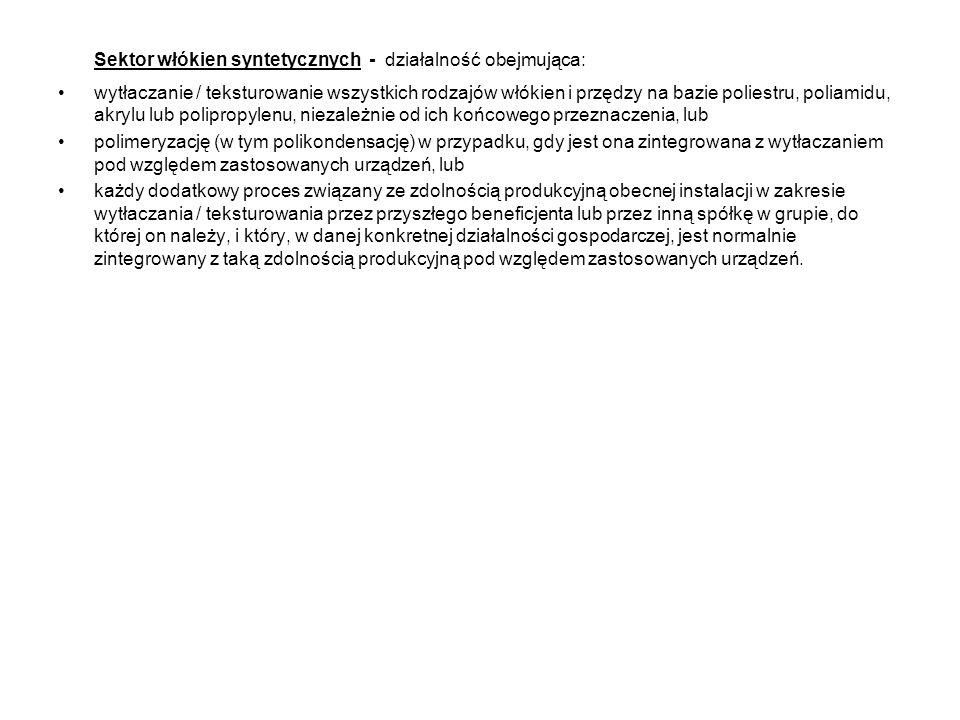Sektor włókien syntetycznych - działalność obejmująca: wytłaczanie / teksturowanie wszystkich rodzajów włókien i przędzy na bazie poliestru, poliamidu