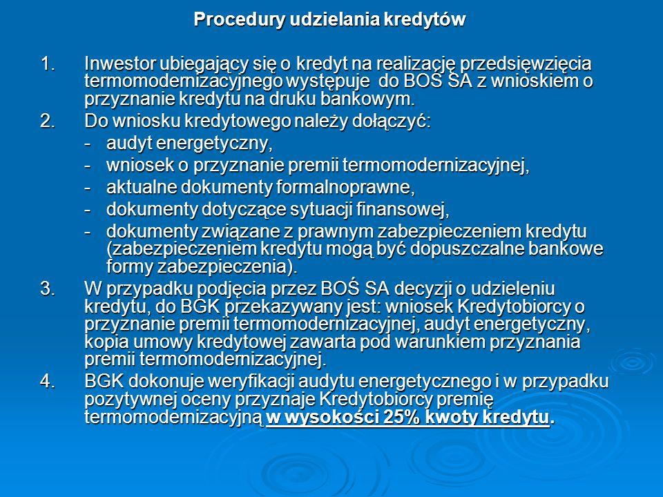 Procedury udzielania kredytów Procedury udzielania kredytów 1.Inwestor ubiegający się o kredyt na realizację przedsięwzięcia termomodernizacyjnego wys
