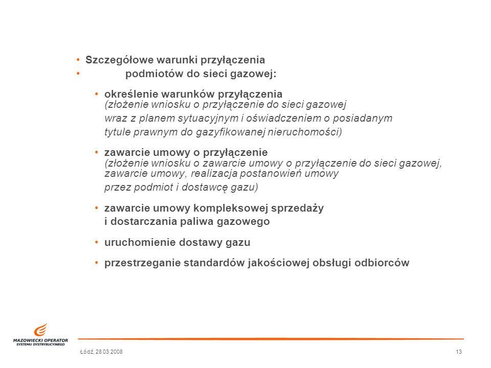 Łódź, 28 03 200813 Szczegółowe warunki przyłączenia podmiotów do sieci gazowej: określenie warunków przyłączenia (złożenie wniosku o przyłączenie do s