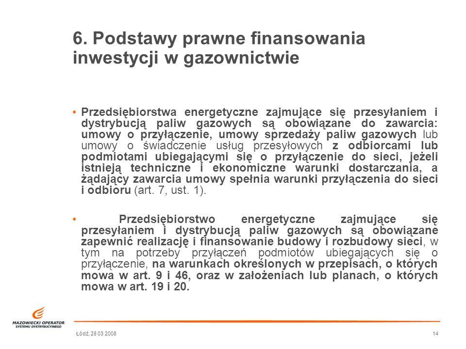 Łódź, 28 03 200814 6. Podstawy prawne finansowania inwestycji w gazownictwie Przedsiębiorstwa energetyczne zajmujące się przesyłaniem i dystrybucją pa