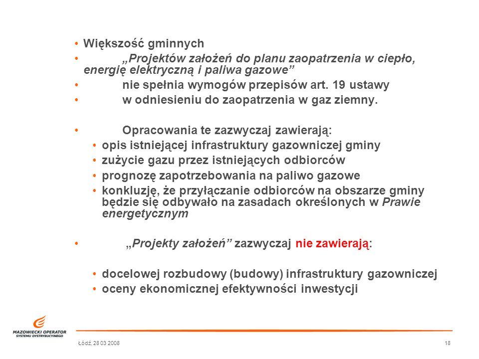 Łódź, 28 03 200818 Większość gminnych Projektów założeń do planu zaopatrzenia w ciepło, energię elektryczną i paliwa gazowe nie spełnia wymogów przepi