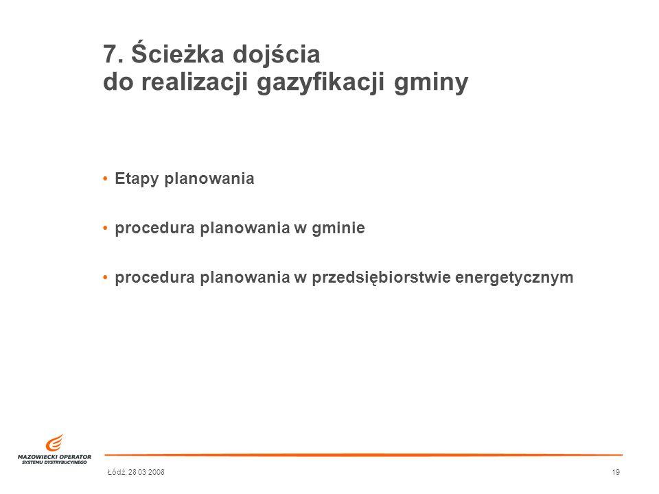 Łódź, 28 03 200819 7. Ścieżka dojścia do realizacji gazyfikacji gminy Etapy planowania procedura planowania w gminie procedura planowania w przedsiębi