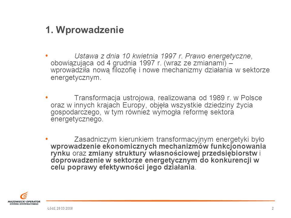 Łódź, 28 03 20082 Ustawa z dnia 10 kwietnia 1997 r. Prawo energetyczne, obowiązująca od 4 grudnia 1997 r. (wraz ze zmianami) – wprowadziła nową filozo