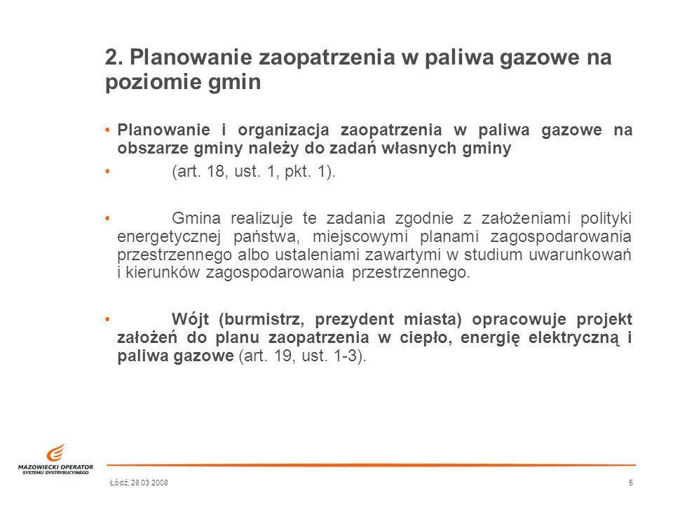 Łódź, 28 03 20085 2. Planowanie zaopatrzenia w paliwa gazowe na poziomie gmin Planowanie i organizacja zaopatrzenia w paliwa gazowe na obszarze gminy