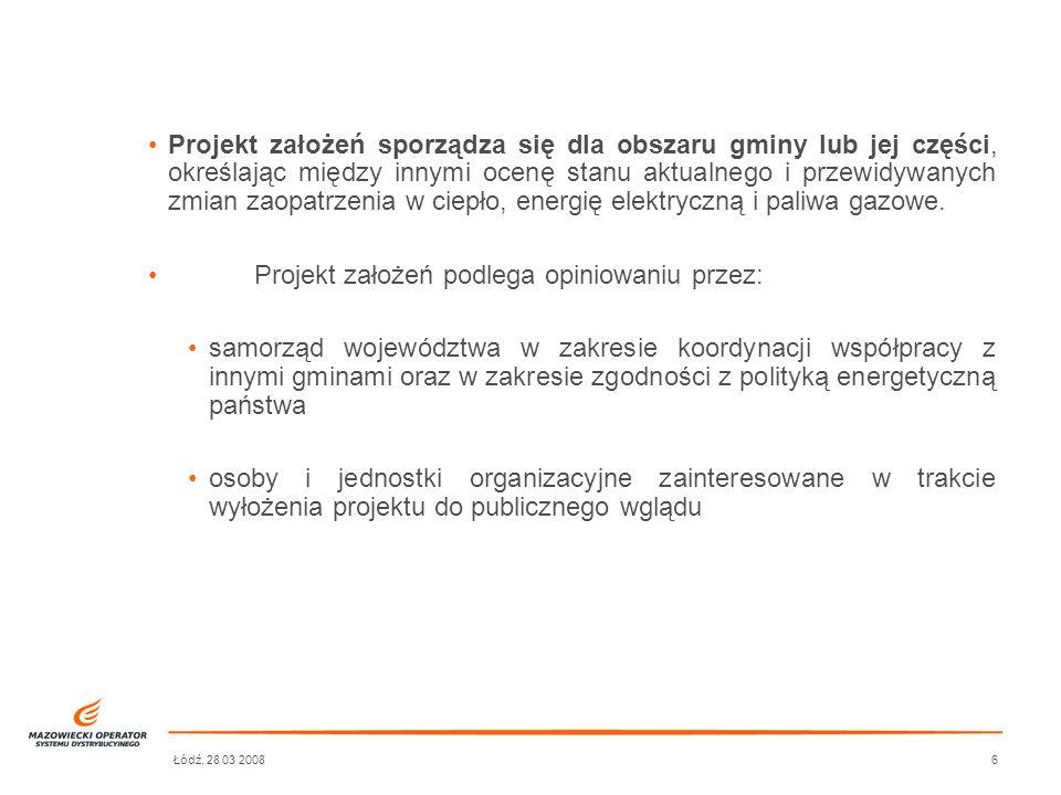 Łódź, 28 03 20087 Po uzyskaniu opinii do projektu założeń Rada Gminy uchwala założenia do planu zaopatrzenia w media energetyczne, rozpatrując jednocześnie wnioski, zastrzeżenia i uwagi zgłoszone w czasie wyłożenia projektu założeń do publicznego wglądu.