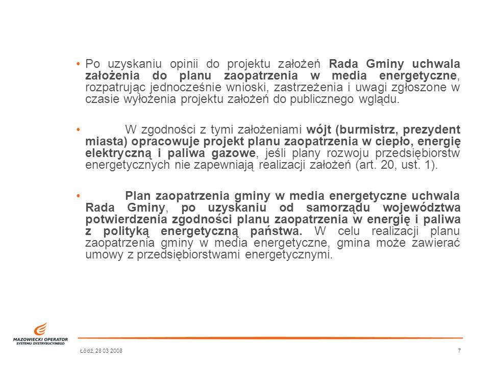 Łódź, 28 03 20087 Po uzyskaniu opinii do projektu założeń Rada Gminy uchwala założenia do planu zaopatrzenia w media energetyczne, rozpatrując jednocz