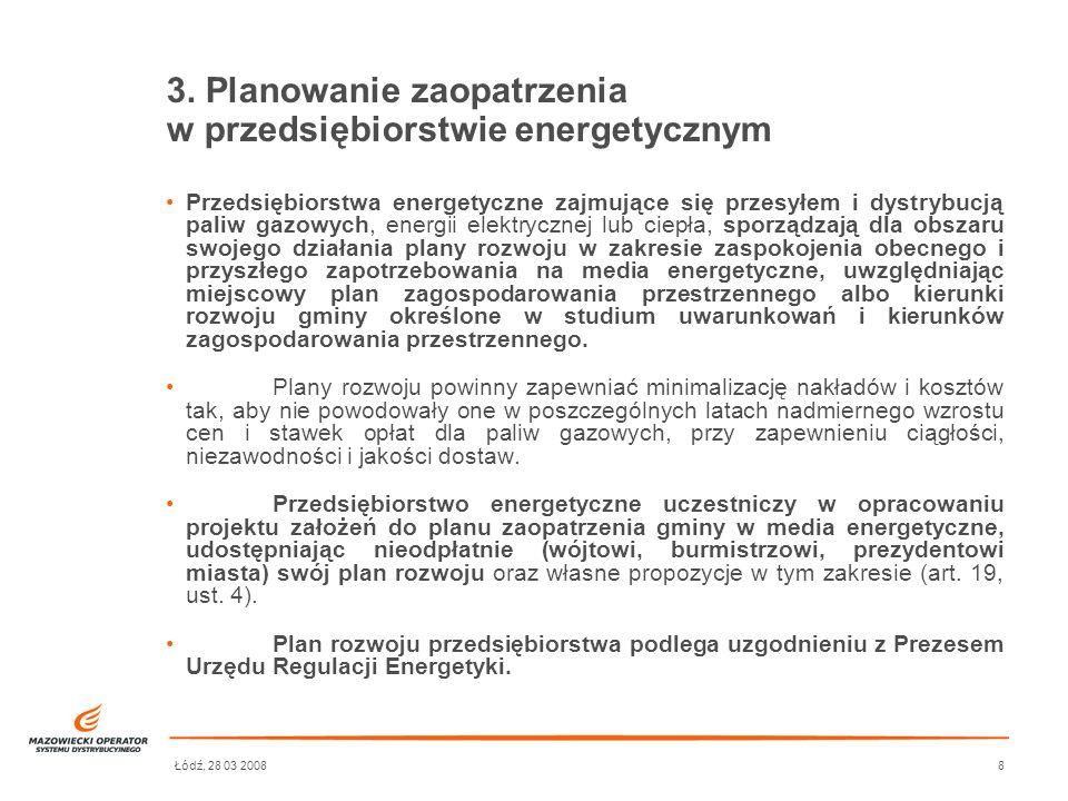 Łódź, 28 03 20088 3. Planowanie zaopatrzenia w przedsiębiorstwie energetycznym Przedsiębiorstwa energetyczne zajmujące się przesyłem i dystrybucją pal