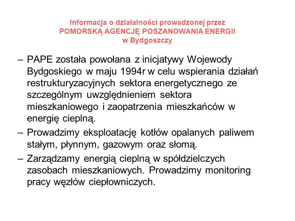 Informacja o działalności prowadzonej przez POMORSKĄ AGENCJĘ POSZANOWANIA ENERGII w Bydgoszczy –PAPE została powołana z inicjatywy Wojewody Bydgoskiego w maju 1994r w celu wspierania działań restrukturyzacyjnych sektora energetycznego ze szczególnym uwzględnieniem sektora mieszkaniowego i zaopatrzenia mieszkańców w energię cieplną.