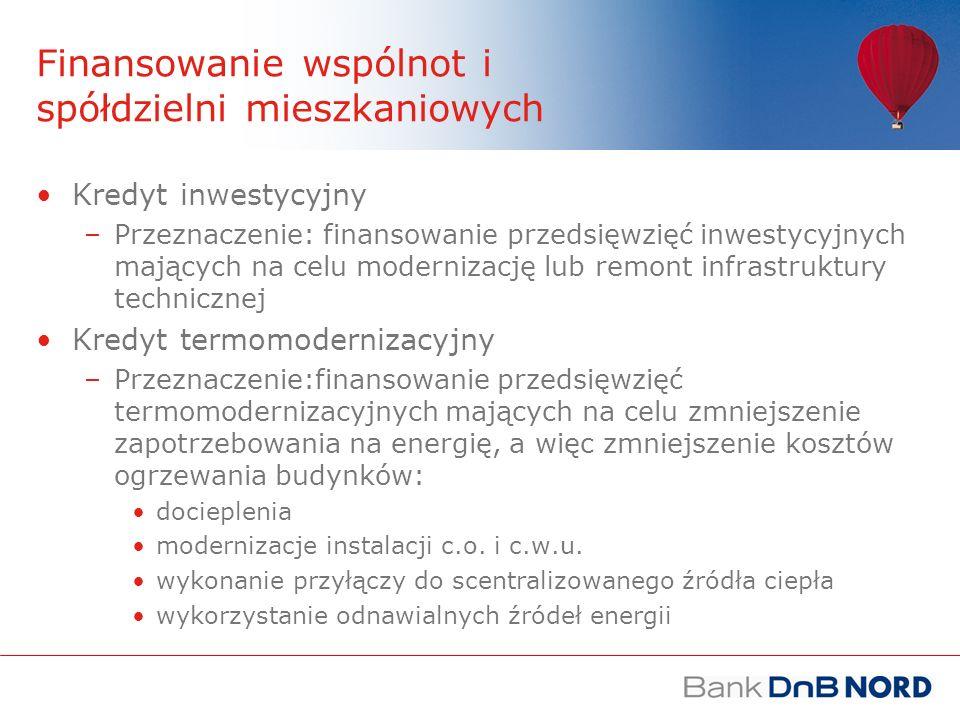 Kredyt inwestycyjny Kwota kredytu: 80% wartości inwestycji Okres kredytowania: maksymalnie 20 lat Waluta: PLN Oprocentowanie kredytu: zmienne i oparte o stopę WIBOR Prawne zabezpieczenie: główne zabezpieczenie stanowi pełnomocnictwo do rachunku remontowego W ratach kapitał spłacany jest w równych kwotach, a odsetki w kwotach malejących