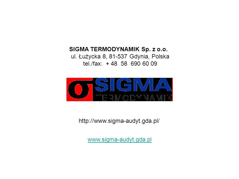 SIGMA TERMODYNAMIK Sp. z o.o. ul. Łużycka 8, 81-537 Gdynia, Polska tel./fax: + 48 58 690 60 09 http://www.sigma-audyt.gda.pl/ www.sigma-audyt.gda.pl
