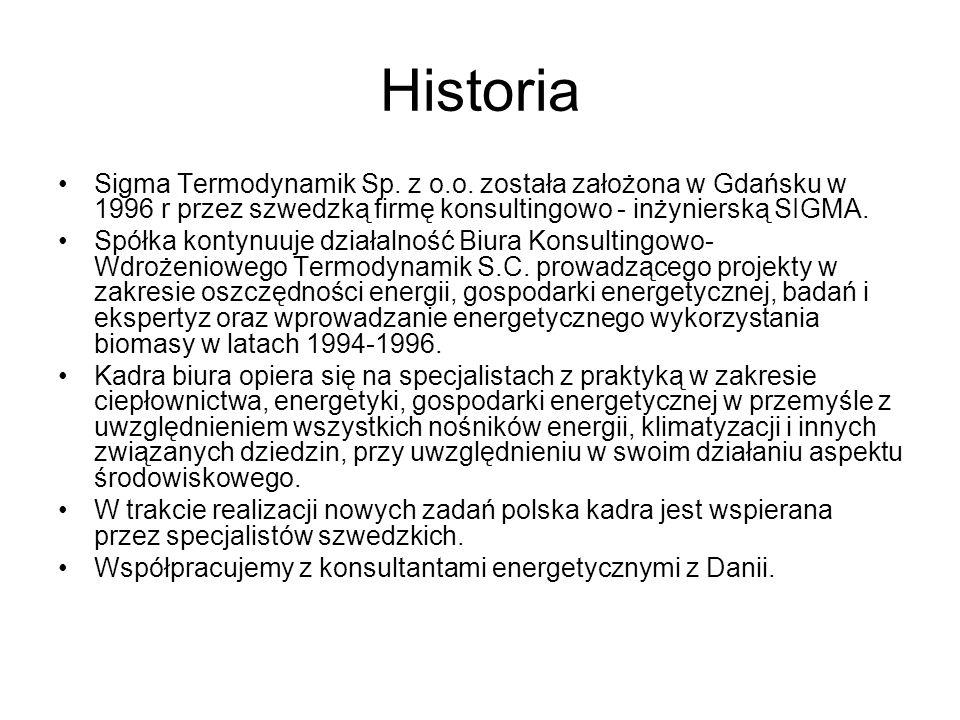 Historia Sigma Termodynamik Sp. z o.o. została założona w Gdańsku w 1996 r przez szwedzką firmę konsultingowo - inżynierską SIGMA. Spółka kontynuuje d