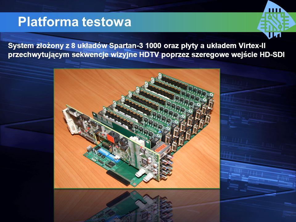 Platforma testowa System złożony z 8 układów Spartan-3 1000 oraz płyty a układem Virtex-II przechwytującym sekwencje wizyjne HDTV poprzez szeregowe we