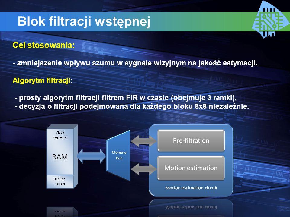 Blok filtracji wstępnej Cel stosowania: - zmniejszenie wpływu szumu w sygnale wizyjnym na jakość estymacji. Algorytm filtracji: - prosty algorytm filt