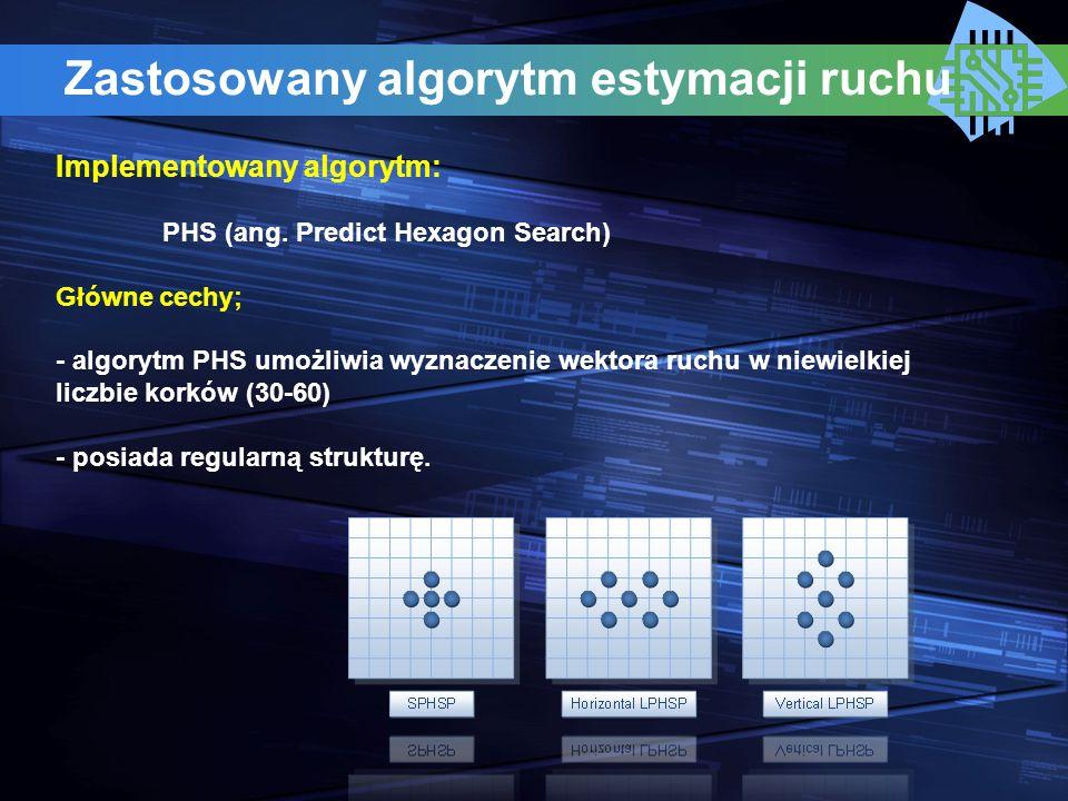 Zastosowany algorytm estymacji ruchu Implementowany algorytm: PHS (ang. Predict Hexagon Search) Główne cechy; - algorytm PHS umożliwia wyznaczenie wek