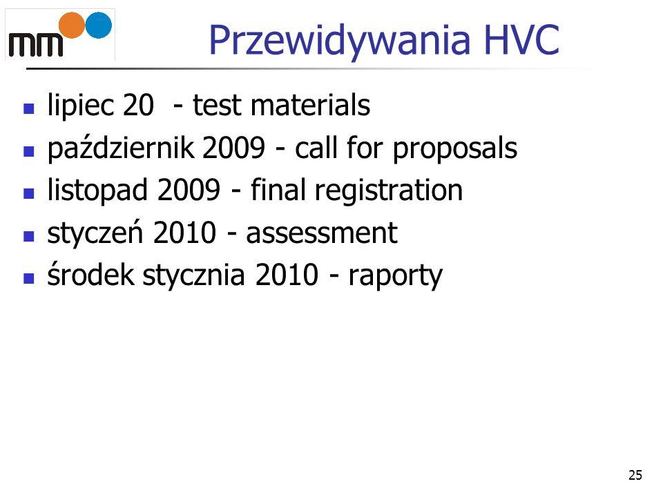 25 Przewidywania HVC lipiec 20 - test materials październik 2009 - call for proposals listopad 2009 - final registration styczeń 2010 - assessment śro