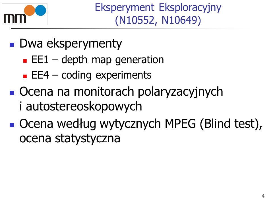 4 Eksperyment Eksploracyjny (N10552, N10649) Dwa eksperymenty EE1 – depth map generation EE4 – coding experiments Ocena na monitorach polaryzacyjnych