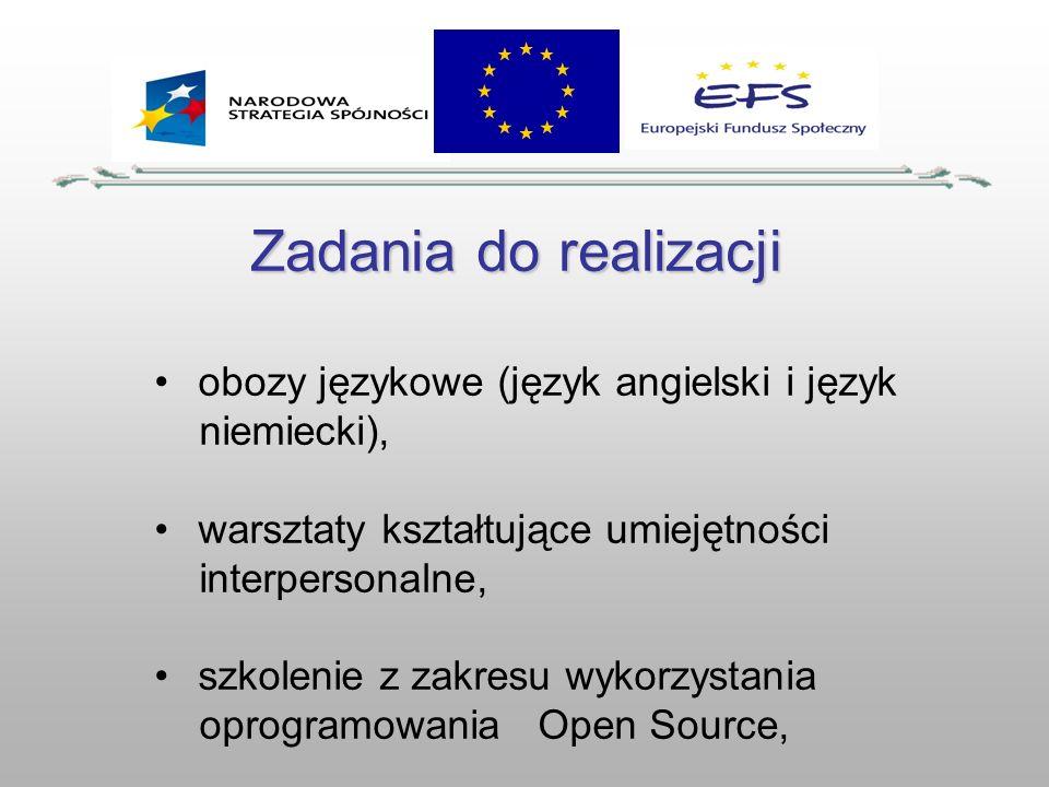 Zadania do realizacji obozy językowe (język angielski i język niemiecki), warsztaty kształtujące umiejętności interpersonalne, szkolenie z zakresu wyk