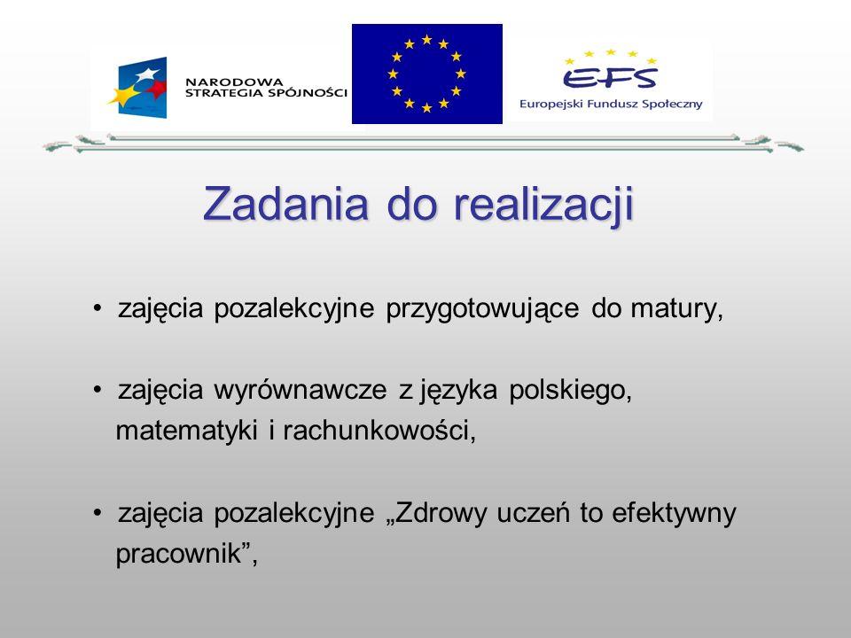 Zadania do realizacji zajęcia pozalekcyjne przygotowujące do matury, zajęcia wyrównawcze z języka polskiego, matematyki i rachunkowości, zajęcia pozal