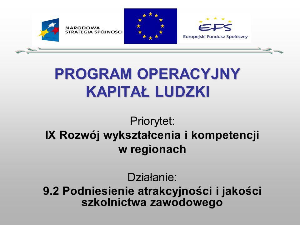 PROGRAM OPERACYJNY KAPITAŁ LUDZKI Priorytet: IX Rozwój wykształcenia i kompetencji w regionach Działanie: 9.2 Podniesienie atrakcyjności i jakości szk