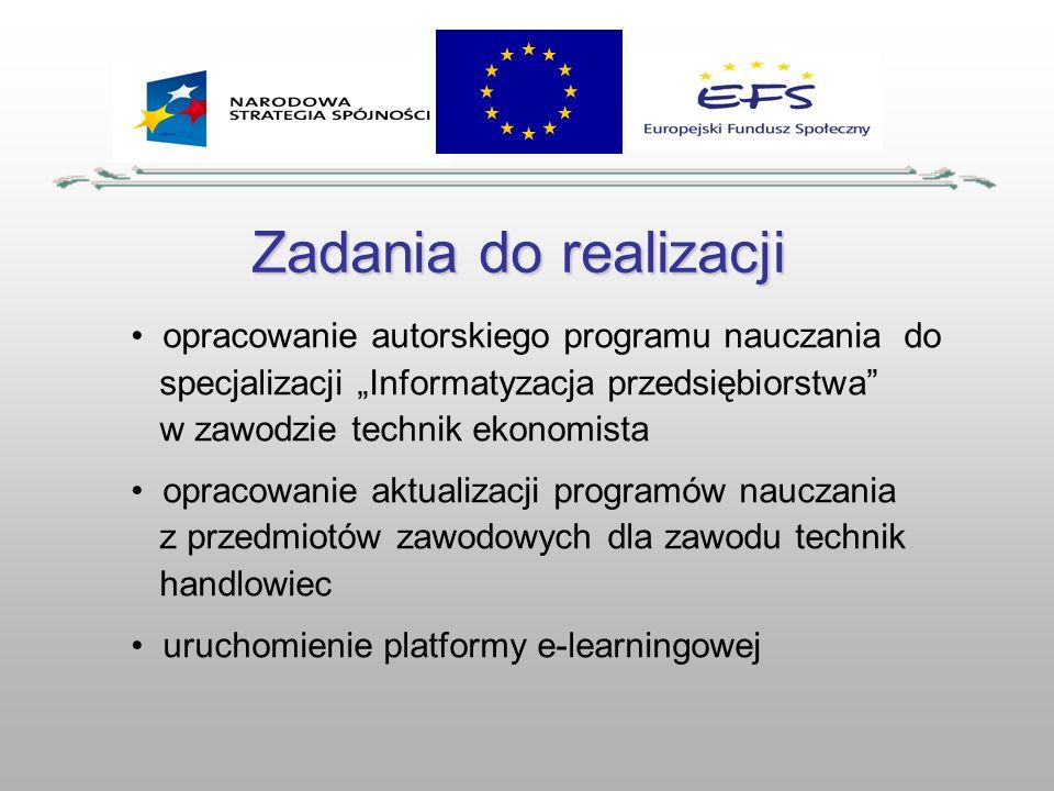Zadania do realizacji opracowanie autorskiego programu nauczania do specjalizacji Informatyzacja przedsiębiorstwa w zawodzie technik ekonomista opraco