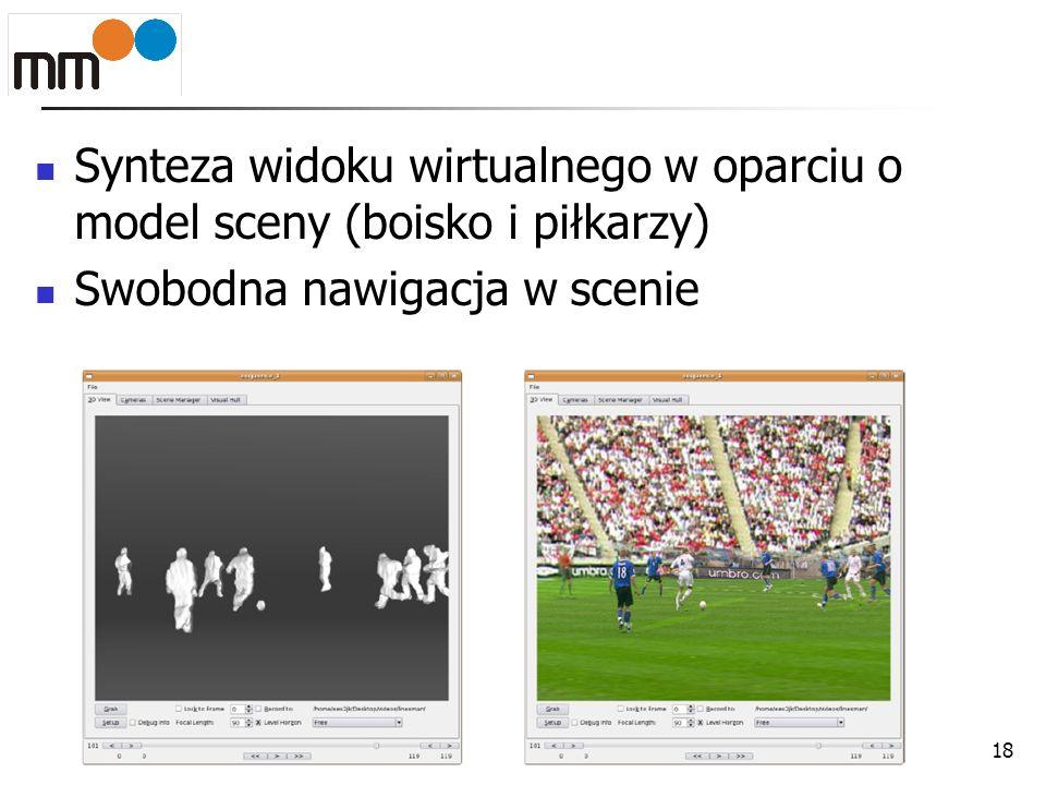 Synteza widoku wirtualnego w oparciu o model sceny (boisko i piłkarzy) Swobodna nawigacja w scenie 18