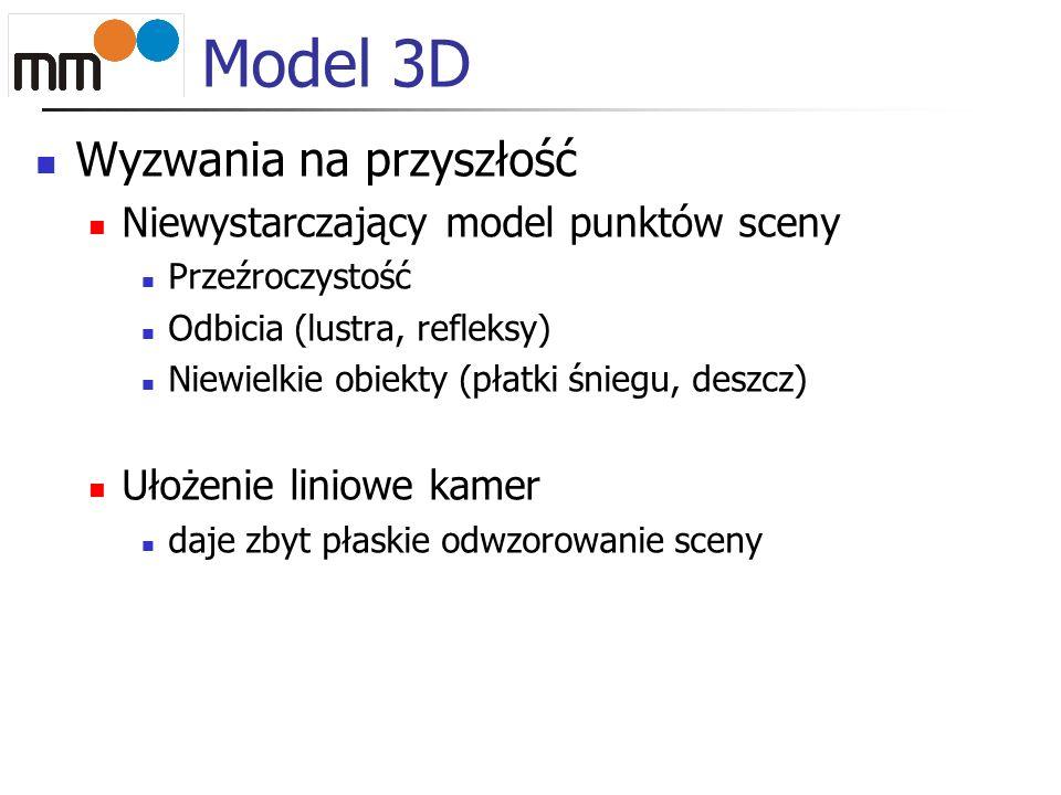 Model 3D Wyzwania na przyszłość Niewystarczający model punktów sceny Przeźroczystość Odbicia (lustra, refleksy) Niewielkie obiekty (płatki śniegu, deszcz) Ułożenie liniowe kamer daje zbyt płaskie odwzorowanie sceny