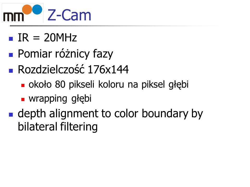Z-Cam IR = 20MHz Pomiar różnicy fazy Rozdzielczość 176x144 około 80 pikseli koloru na piksel głębi wrapping głębi depth alignment to color boundary by bilateral filtering