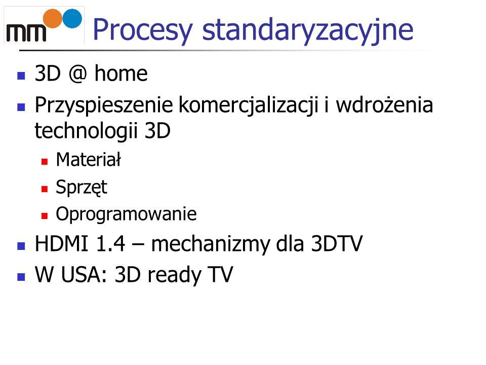 Procesy standaryzacyjne 3D @ home Przyspieszenie komercjalizacji i wdrożenia technologii 3D Materiał Sprzęt Oprogramowanie HDMI 1.4 – mechanizmy dla 3DTV W USA: 3D ready TV