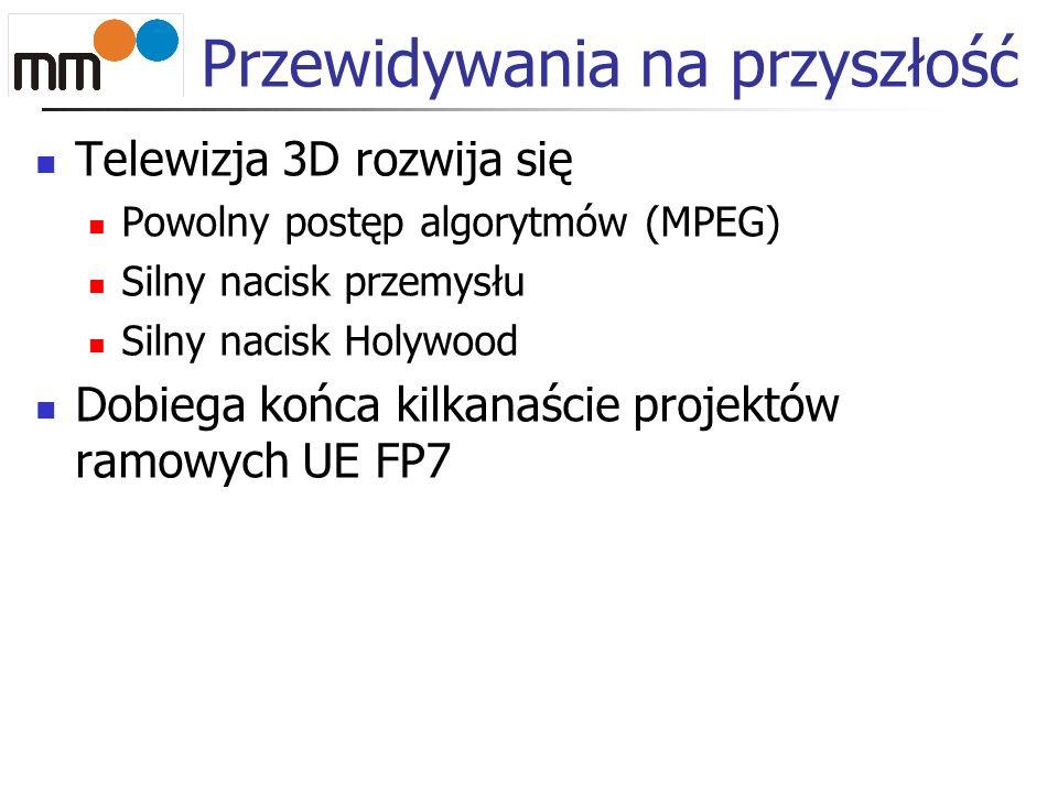 Telewizja 3D rozwija się Powolny postęp algorytmów (MPEG) Silny nacisk przemysłu Silny nacisk Holywood Dobiega końca kilkanaście projektów ramowych UE FP7