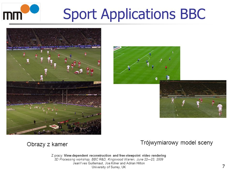 Sport Applications BBC 7 Obrazy z kamer Trójwymiarowy model sceny Z pracy: View-dependent reconstruction and free-viewpoint video rendering 3D Process