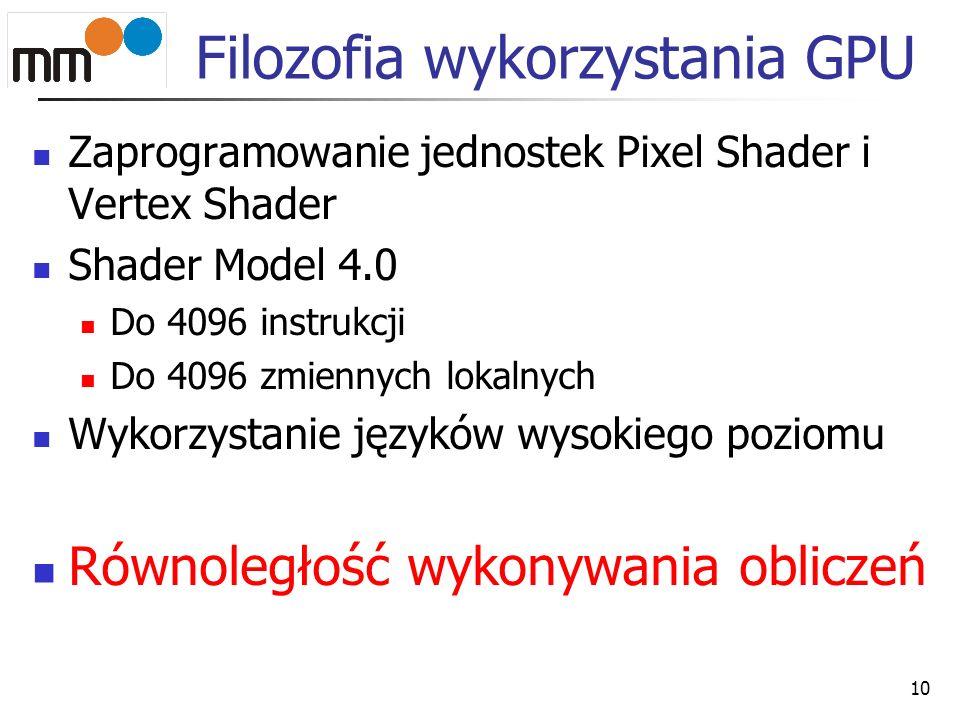 Filozofia wykorzystania GPU Zaprogramowanie jednostek Pixel Shader i Vertex Shader Shader Model 4.0 Do 4096 instrukcji Do 4096 zmiennych lokalnych Wyk