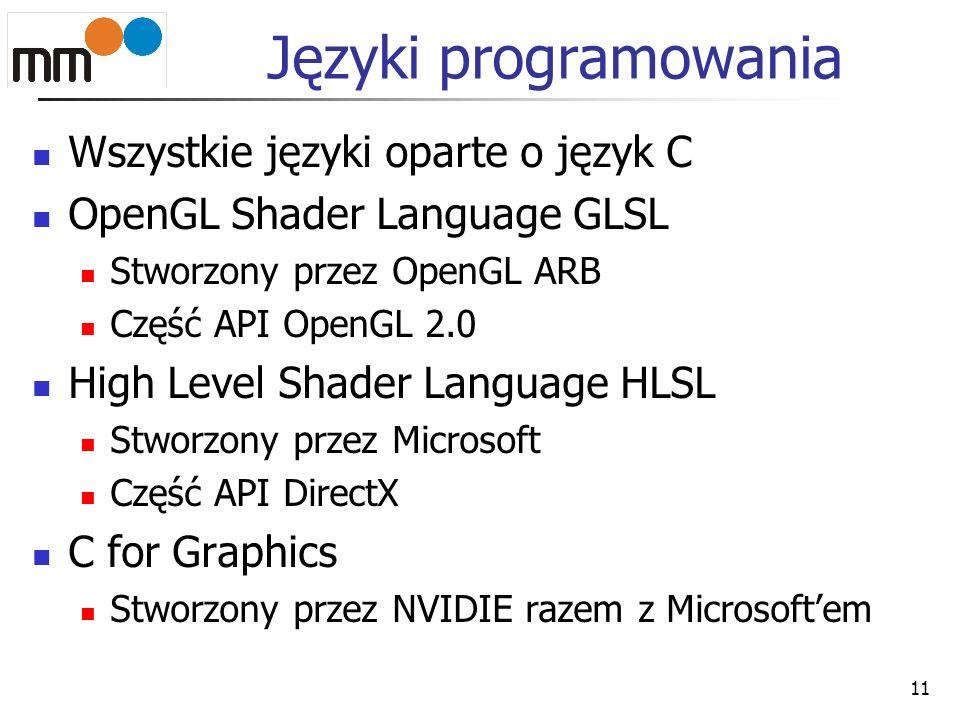 Języki programowania Wszystkie języki oparte o język C OpenGL Shader Language GLSL Stworzony przez OpenGL ARB Część API OpenGL 2.0 High Level Shader L