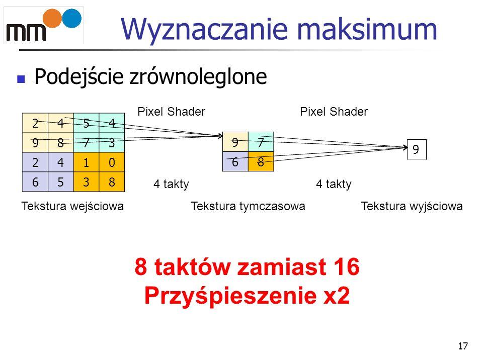 Wyznaczanie maksimum Podejście zrównoleglone 17 2454 9873 2410 6538 Tekstura wejściowa 97 68 Tekstura tymczasowa 9 Tekstura wyjściowa Pixel Shader 4 t