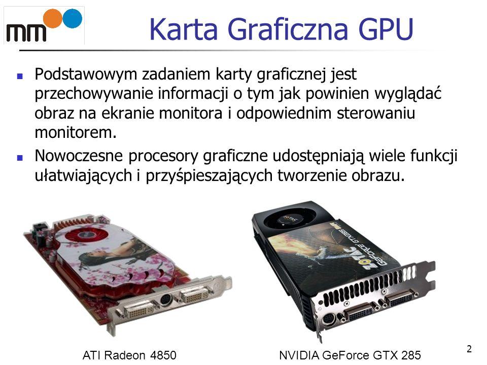 Karta Graficzna GPU Podstawowym zadaniem karty graficznej jest przechowywanie informacji o tym jak powinien wyglądać obraz na ekranie monitora i odpow