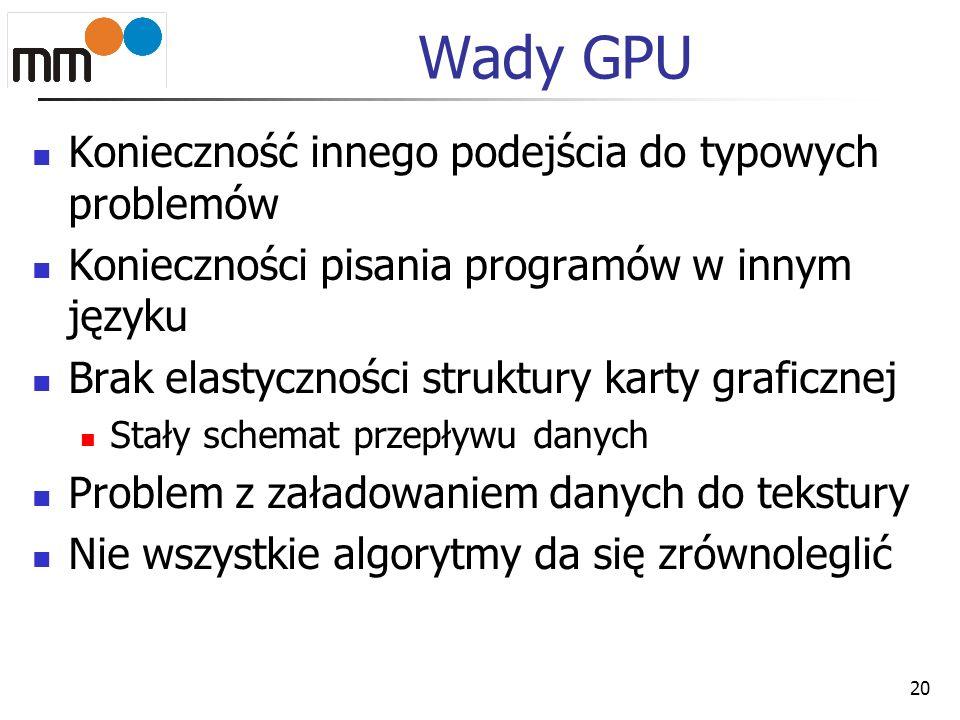 Wady GPU Konieczność innego podejścia do typowych problemów Konieczności pisania programów w innym języku Brak elastyczności struktury karty graficzne
