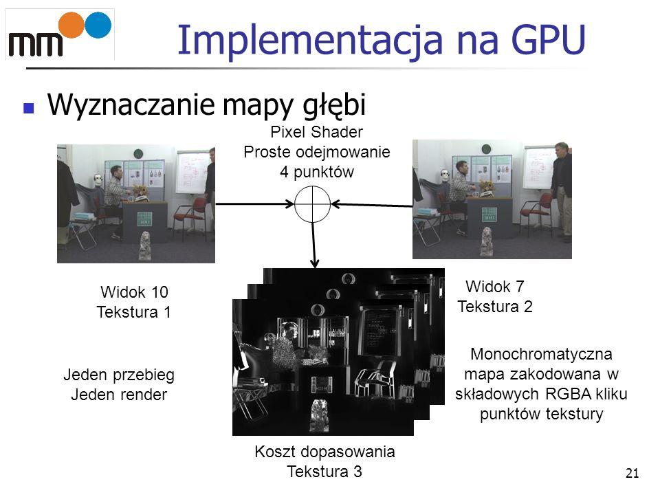 Implementacja na GPU Wyznaczanie mapy głębi 21 Widok 10 Tekstura 1 Widok 7 Tekstura 2 Koszt dopasowania Tekstura 3 Monochromatyczna mapa zakodowana w