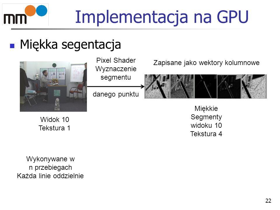 Implementacja na GPU Miękka segentacja 22 Widok 10 Tekstura 1 Miękkie Segmenty widoku 10 Tekstura 4 Zapisane jako wektory kolumnowe Pixel Shader Wyzna