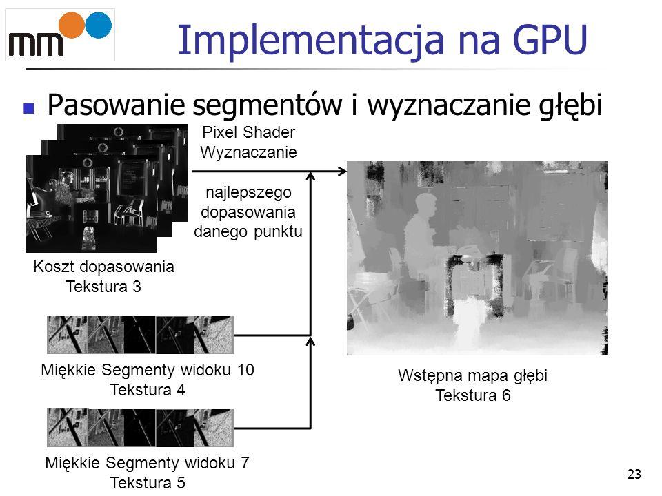 Implementacja na GPU Pasowanie segmentów i wyznaczanie głębi 23 Koszt dopasowania Tekstura 3 Miękkie Segmenty widoku 10 Tekstura 4 Miękkie Segmenty wi