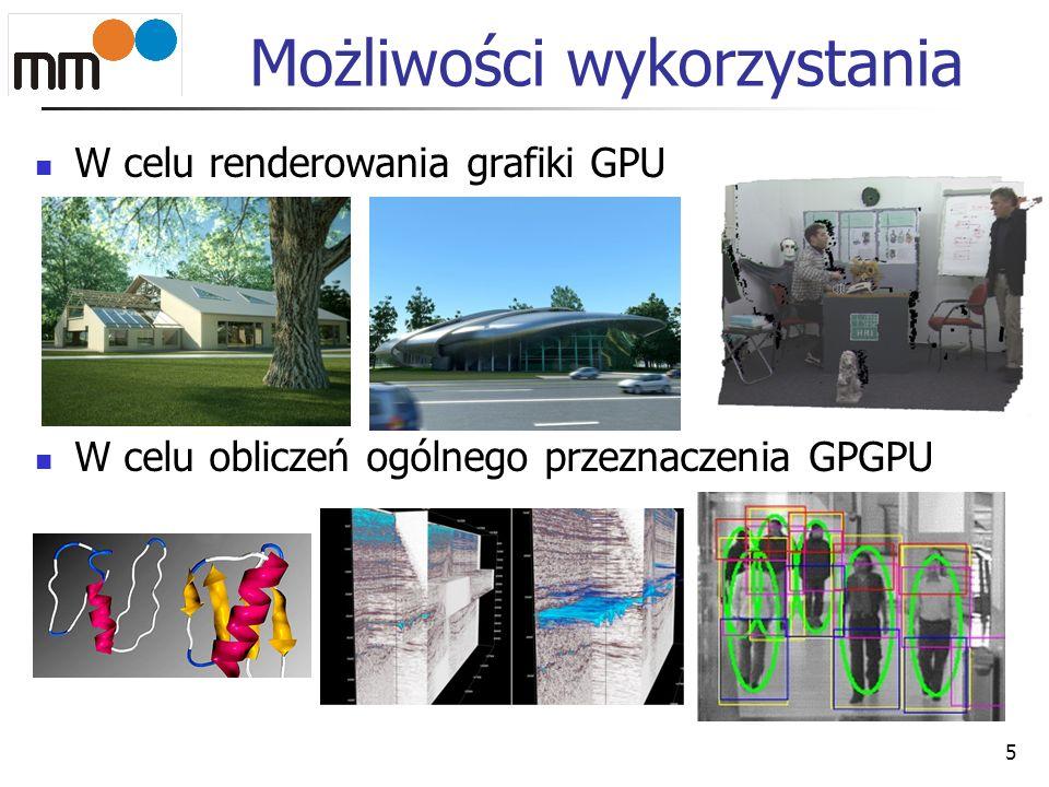 Możliwości wykorzystania W celu renderowania grafiki GPU W celu obliczeń ogólnego przeznaczenia GPGPU 5
