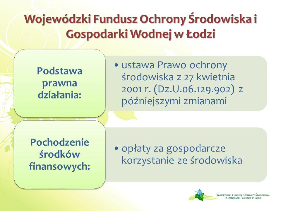 Wojewódzki Fundusz Ochrony Środowiska i Gospodarki Wodnej w Łodzi ustawa Prawo ochrony środowiska z 27 kwietnia 2001 r. (Dz.U.06.129.902) z późniejszy