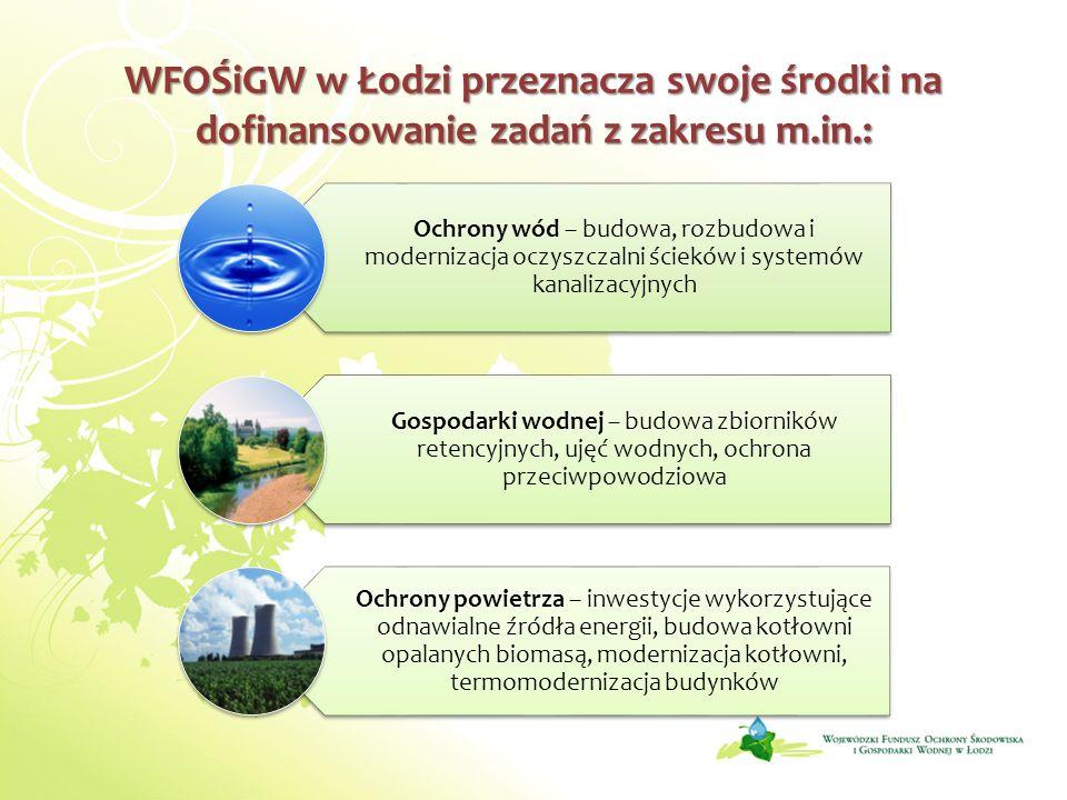 WFOŚiGW w Łodzi przeznacza swoje środki na dofinansowanie zadań z zakresu m.in.: Ochrony wód – budowa, rozbudowa i modernizacja oczyszczalni ścieków i