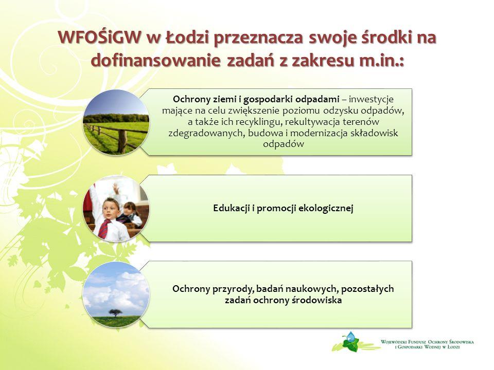 WFOŚiGW w Łodzi przeznacza swoje środki na dofinansowanie zadań z zakresu m.in.: Ochrony ziemi i gospodarki odpadami – inwestycje mające na celu zwięk