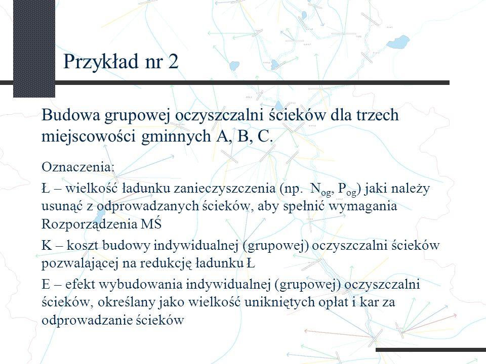 Przykład nr 2 Budowa grupowej oczyszczalni ścieków dla trzech miejscowości gminnych A, B, C.