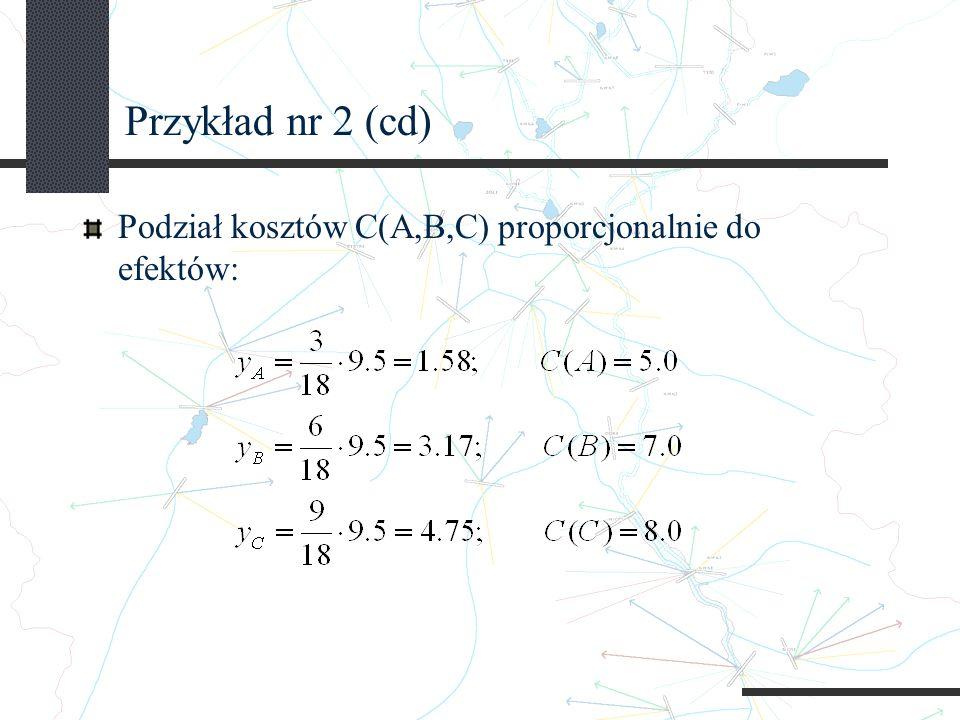 Przykład nr 2 (cd) Podział kosztów C(A,B,C) proporcjonalnie do efektów: