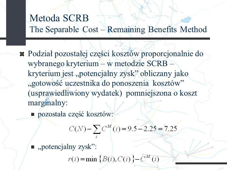 Metoda SCRB The Separable Cost – Remaining Benefits Method Podział pozostałej części kosztów proporcjonalnie do wybranego kryterium – w metodzie SCRB – kryterium jest potencjalny zysk obliczany jako gotowość uczestnika do ponoszenia kosztów (usprawiedliwiony wydatek) pomniejszona o koszt marginalny: pozostała część kosztów: potencjalny zysk: