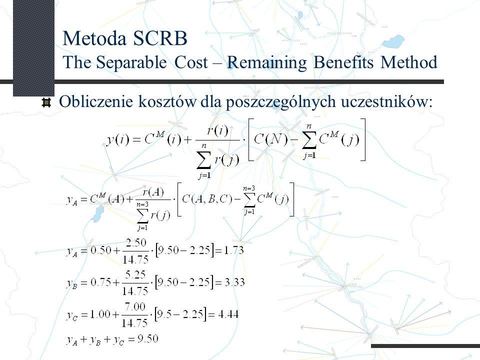 Metoda SCRB The Separable Cost – Remaining Benefits Method Obliczenie kosztów dla poszczególnych uczestników: