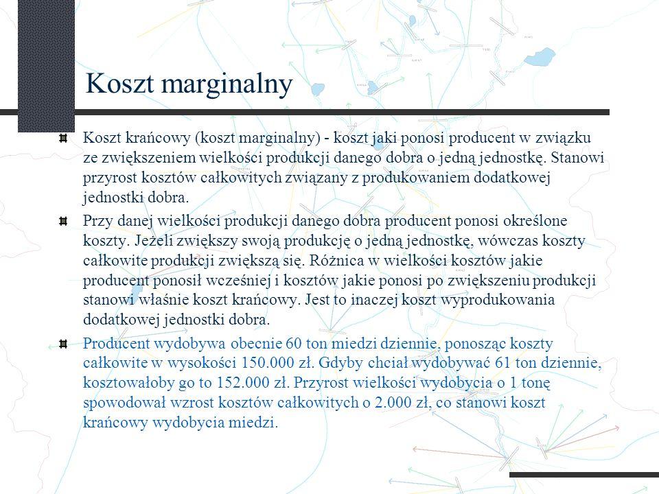 Koszt marginalny Koszt krańcowy (koszt marginalny) - koszt jaki ponosi producent w związku ze zwiększeniem wielkości produkcji danego dobra o jedną jednostkę.