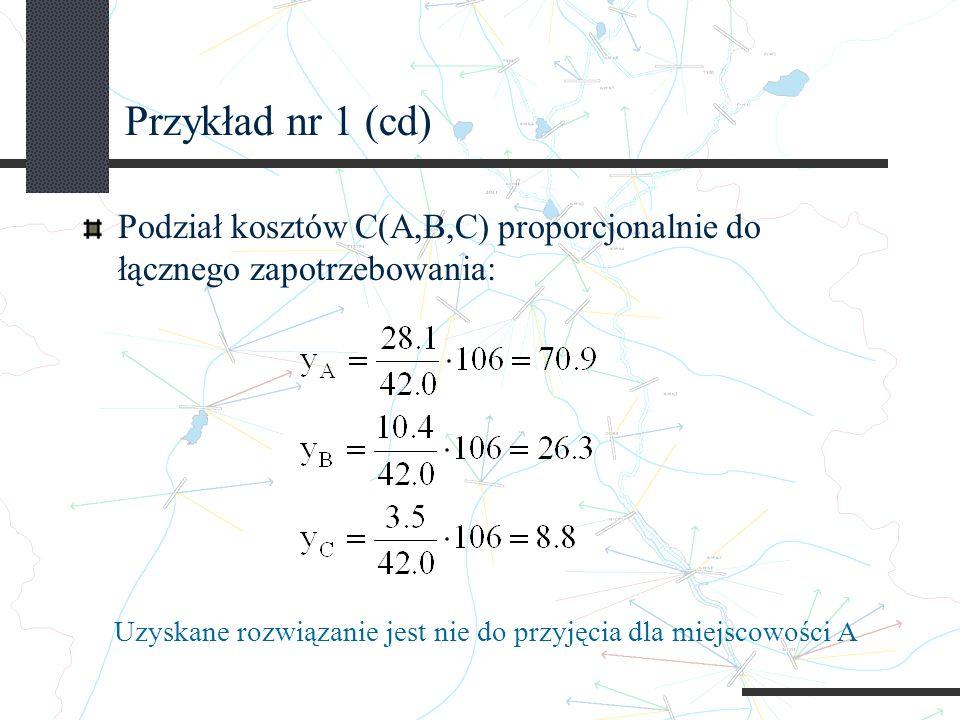 Przykład nr 1 (cd) Podział kosztów C(A,B,C) proporcjonalnie do łącznego zapotrzebowania: Uzyskane rozwiązanie jest nie do przyjęcia dla miejscowości A